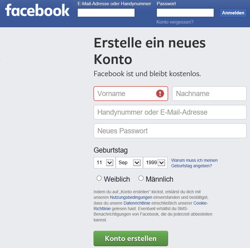 Facebook Anmeldung