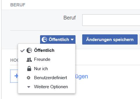 Facebook Privatsphäre Einstellung