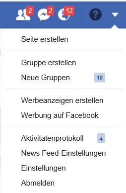 Facebook Menü