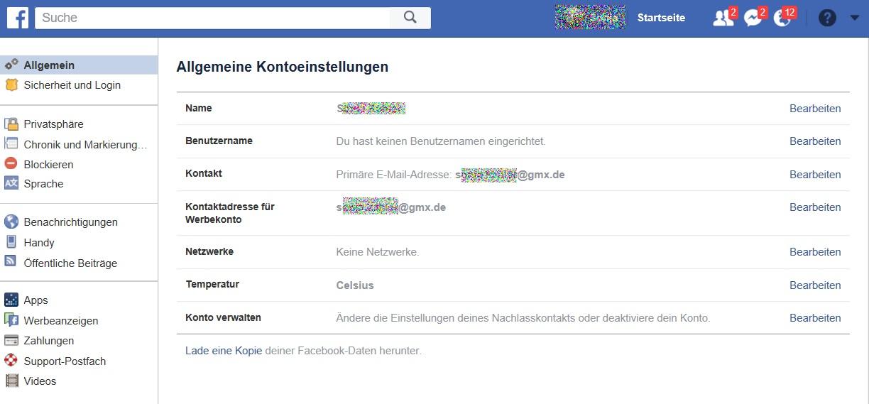 Sicherheitseinstellungen Facebook
