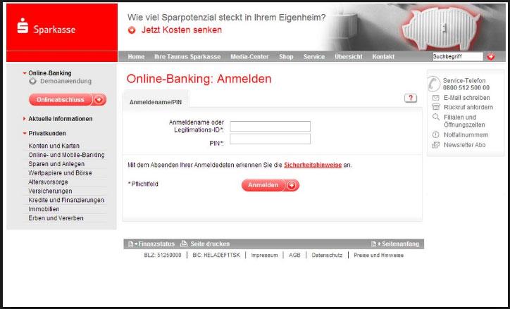 Sparkasse Phishing Seite