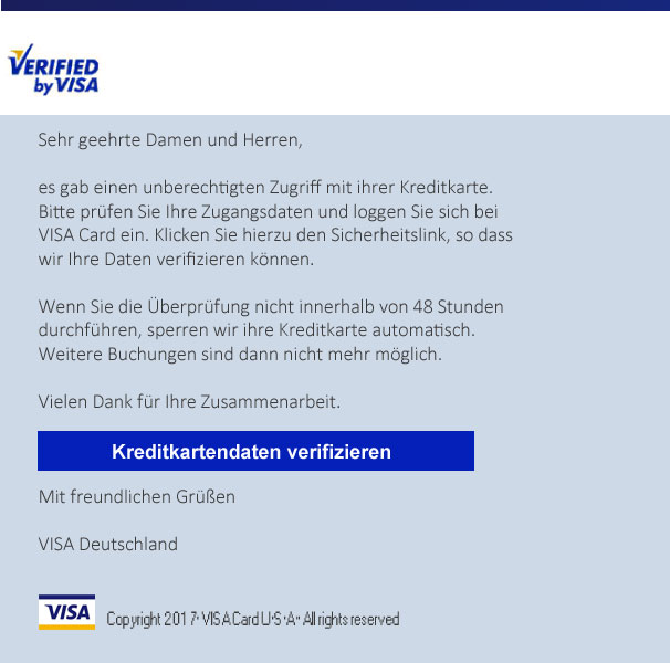 Phishing Visa Card